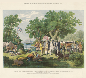 Captain Cook taking possession of the Australian continent on behalf of the British Crown, AD 1770, under the name of New South Wales.