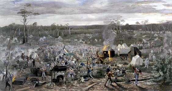 Bird's-eye view of events at Ballarat, 3 Dec. 1854, by B Ireland.