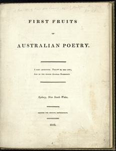 First Fruits of Australian Poetry.
