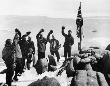 Sir Douglas Mawson taking possession of Antarctic territory at Proclamation Island, 13 January 1930.