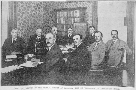 The first meeting of the federal Cabinet at Canberra, Yarralumla House, 30 January 1924.