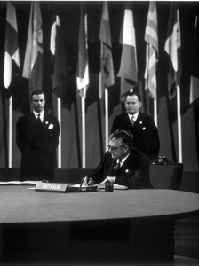 Dr HV Evatt signs the UN Charter, 1948.