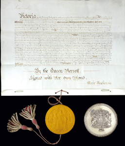 Queen Victoria's Royal Assent to the Commonwealth of Australia Constitution Act, 1900.