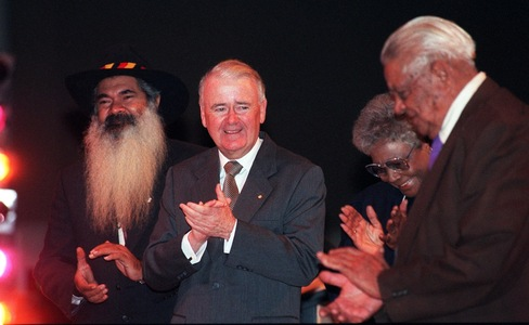 Distinguished company at the Reconciliation Conference, from left: Patrick Dodson, Sir William Deane, Faith Bandler and Joe McGinness.