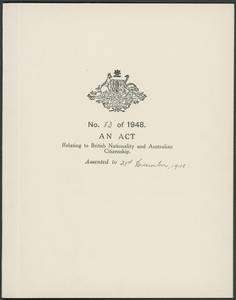 Australian Nationality and Citizenship Act 1948.