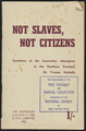 Cover of Not Slaves, Not Citizens: Condition of the Australian Aborigines in the Northern Territory by Yvonne Nicholls, 1952.