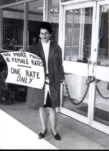 Equal pay activist Zelda D'Aprano chained to the front doors of the Commonwealth Building in Melbourne, 16 April 1970.  Image courtesy of Fairfax Photos.