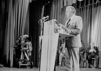 Gough Whitlam delivers the Labor Party's policy speech at Blacktown Civic Centre in Sydney, 1972.