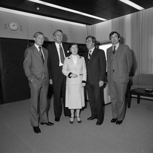 Mr Doug Anthony with Prime Minister Malcolm Fraser and Senators Austin Lewis and Margaret Guilfoyle, 1980.