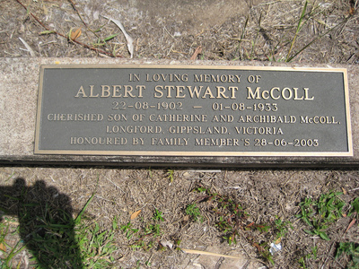 Gravestone for Albert Stewart McColl